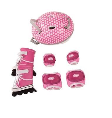 Götz 3402277 In-Line Skates Set für Puppen, 7-teilig mit Skates, Schonern und Helm, Puppenkleidung passend fü;r 46 - 50 cm Stehpuppen