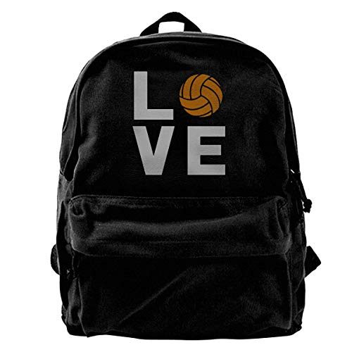 Rucksäcke, Daypacks,Taschen, Classic Canvas Backpack Love Volleyball Unique Print Style,Fits 14 Inch Laptop,Durable,Black