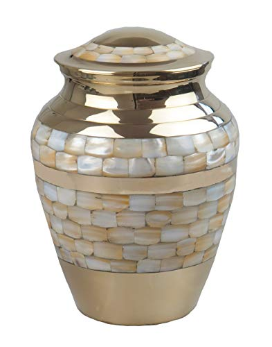 Large Mother of Pearl Gold Mosaic Urn for Adult or Pet Dog Ashes Cremains Memorial