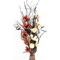 Composizione floreale di fiori fatti a mano in materiali biologici e erbe indiane essiccate color crema e cioccolata Vaso in legno GRATUITO. Altezza 85 cm