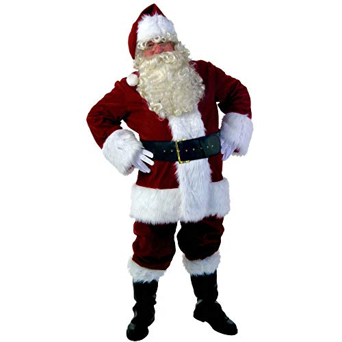 Anzug Santa Kostüm Rubies - FAFY Rubies Kostüm Erwachsene Herren Weiche Velour Weihnachtsmann Anzug Roter Flanell Santa Anzug Mit Handschuhen + Hut + Bart,M
