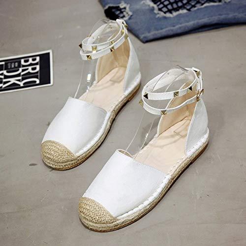 LXDABAOFA Sandalen Für Damen,Flache Schuhe Der Frauen Weiß Fashion Seite Hohl Schnalle Mit Nieten Groß Sandalen Europäischen Und Amerikanischen Dick - Fischer Schuhe Frauen 42 Durchschritten -
