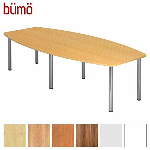 Bümö Konferenztisch rund oval 280 x 130 in Buche | Besprechungstisch mit Chromfüßen | hochwertiger Meetingtisch