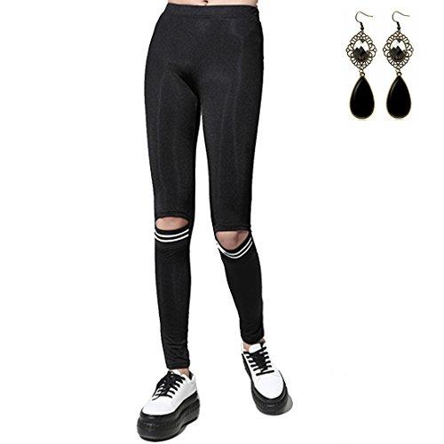 Sitengle Donna Pantaloni Elastici Tessuto Panno Matita Stretch Strappati Stirata Sottili delle Ghette Pantaloni