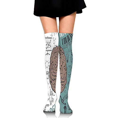 Juzijiang Brain Image With Left And Right Side Music Logic Art Side Science Print Women's Fashion Over The Knee High Socks (65cm)