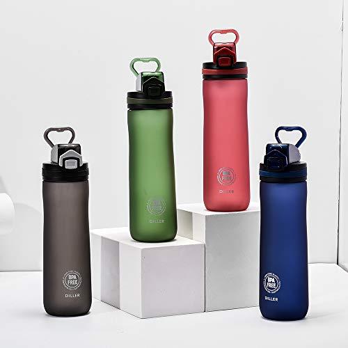 Lanero Trinkflasche - Tritan Wasserflasche - 600ml - BPA-frei - Ideale Sportflasche - Schnelle Wasserdurchfluss, Flip Top, öffnet Sich mit 1-Click - Schule, Sport, Wasser, Fahrrad (Schwarz) -
