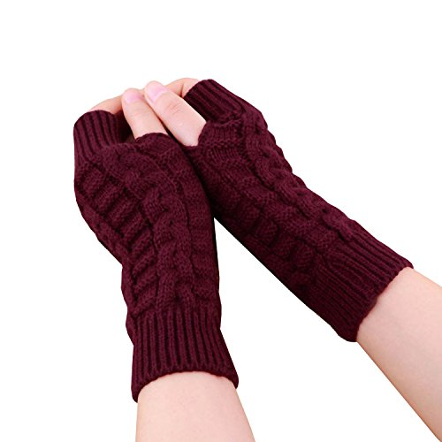 ESYN Gants Femmes Mode tricot Mitaines hiver Colorful doux chaud Mitten Wine Red