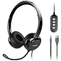 Mpow Auriculares Micrófono PC, Auriculares Telefono USB/3.5mm, Auriculares Diadema Cable, Cancelación de Ruido, Compatible con VoIP, Skype, PC, Teléfono Fijo, Móviles, Moviles iPad, Oficina, Teleconfe