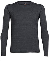 Icebreaker Oasis T-Shirt à Manches Longues Crewe dents à rayures Base couches–Noir/Jet Heather