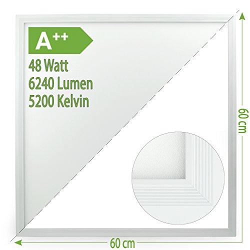 MedX5 A++ LED Panel, TAGESLICHTWEIß, 5250-5750K, 48W – 130lm/Watt, 6240 Lumen, NICHT FLIMMERND, Deckenleuchte, Wandleuchte mit Befestigungsmaterial, Abmessungen: 595 x 595 x 9,5 mm
