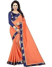 Vastrang Women's Chanderi Cotton Saree With Blouse Piece(1313PCKPCH_Peach Orange_Free Size)