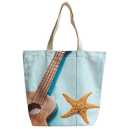 violetpos activas Canvas bolso bandolera escolar Lunch–Bolsa de la compra Guitarra Estrella de mar Madera