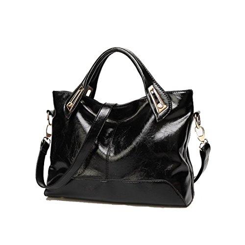 öl Bank Kann (Howoo Öl-Wachs PU Schultertasche Handtasche Bote Umhängetasche für Frauen / Mädchen schwarz)