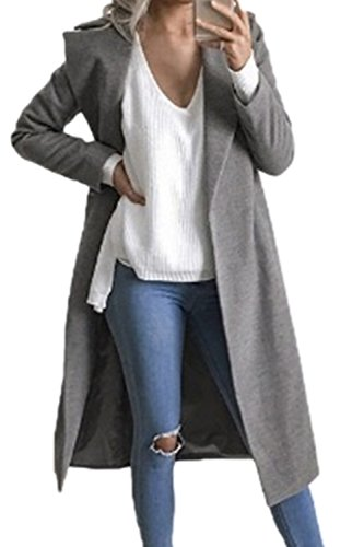 Les Femmes L'hiver L'automne Occasionnel Trench - Coats Vêtements Avant Ouvert Classique Grey