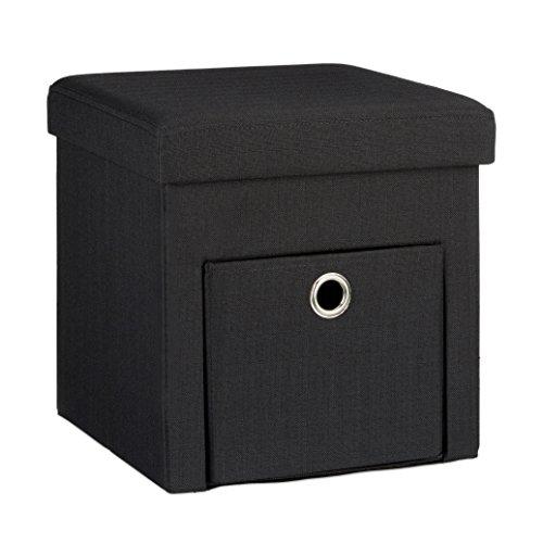 Relaxdays Faltbarer Sitzhocker 38 x 38 x 38 cm stabiler Sitzcube mit praktischer Fußablage Sitzwürfel aus Leinen zur Aufbewahrung mit Fach als Stauraum und Deckel zum Abnehmen für Wohnraum, schwarz