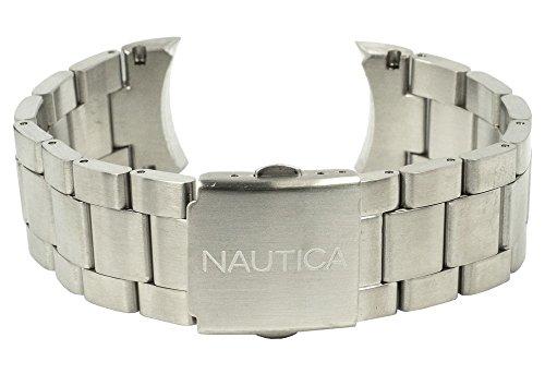 Nautica Ersatzband Uhrenarmband Edelstahl Band silbern A20099G A20098G / BFD 100 / Ø 46mm / 28491
