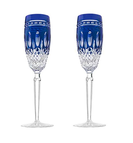 Waterford Clarendon Cobalt Flute Pair by Waterford Clarendon Waterford Crystal