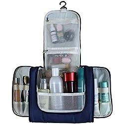S.R HOME Bolsa Viaje de Aseo Colgante Bolsa de Cosméticos Impermeable Neceser Maquillaje con Gancho, Multifunción, Polyester, Adecuado para Hombres y Mujeres. (Azul)