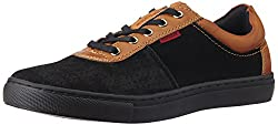 Provogue Mens Black Leather Sneakers - 10 UK/India (44 EU) (11 US)
