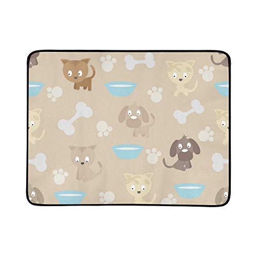EIJODNL Cat Dogs Portable and Foldable Blanket Mat 60x78 Inch Handy Mat for Camping Picnic Beach Indoor Outdoor Travel (Boy Cat Collar)