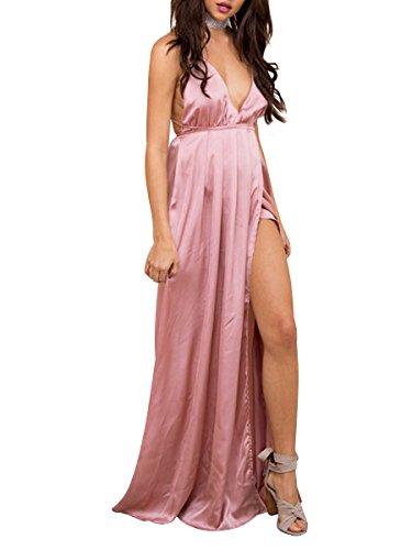 Simplee Apparel Damen Partykleid Sexy V-Ausschnitt Rückenfrei Maxi Lang Satin Träger Kleid Abendkleid Cocktailkleid Rosa (Satin Kleid Elegantes)