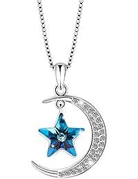 """SIVERY """"Luna y Estrellas"""" Moda Joyas Collar con Colgante con Elementos de Swarovski Cristal"""