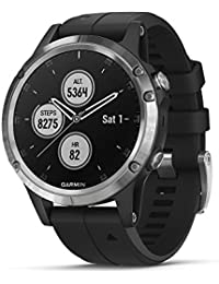 Garmin Fenix 5 Plus Premium Multisport Watch with Music, Maps and Garmin Pay, Silver with Black Band