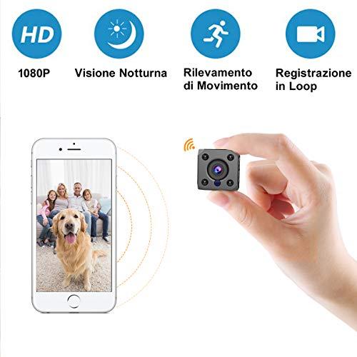 Mini Telecamera Spia Nascosta Wifi, FLYLINKTECH 1080P HD Micro Telecamera Wireless Spy Cam con Visione Notturna IR Rilevamento di Movimento Esterno/Interno Piccola IP Telecamera Sorveglianza