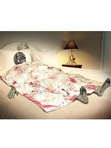 Zombie Leiche im Bett Horror Set bestehend aus Leichen Kopf 1 Hand Füßen und Blut Laken