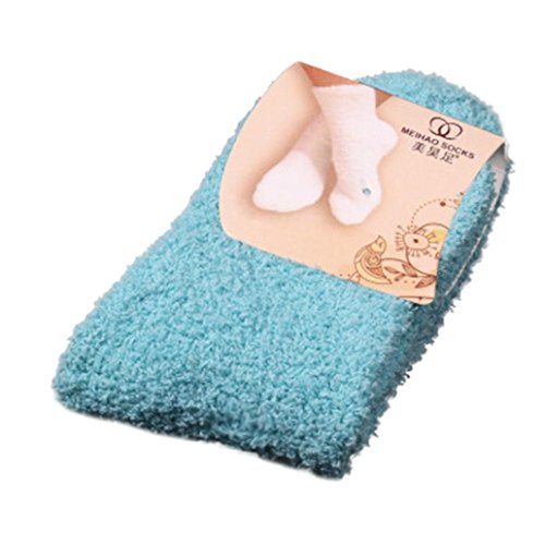 Toamen Women Girls Fluffy Thermal Pure Color Socks, Soft Bed Floor Socks, Warm Winter Coral Velvet Socks