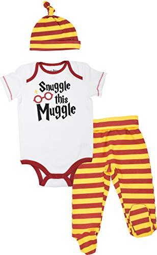 Harry Potter Baby Jungen Mädchen Babykleidung Set - Body Hosen mit Söckchen & Mütze, Weiß 6-9 Monate
