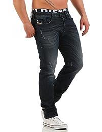 Jeans Slim Tapered Buster Diesel Bleu Noir Destroy