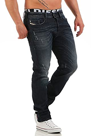 Diesel Buster 0842R_Stretch Herren Jeans Hose Regular Slim Tapered (W30/L30, Blau)