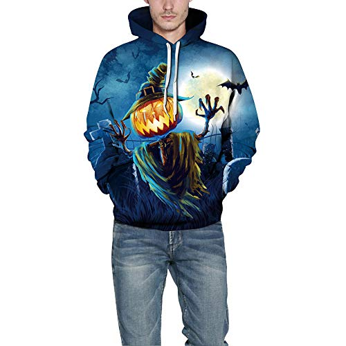 Liebhaber Männer Frauen Unisex Scary Halloween Kürbis Grimasse 3D Gedruckt Party Hoodie Top Sweatshirt Blau(Blau,CN M) ()