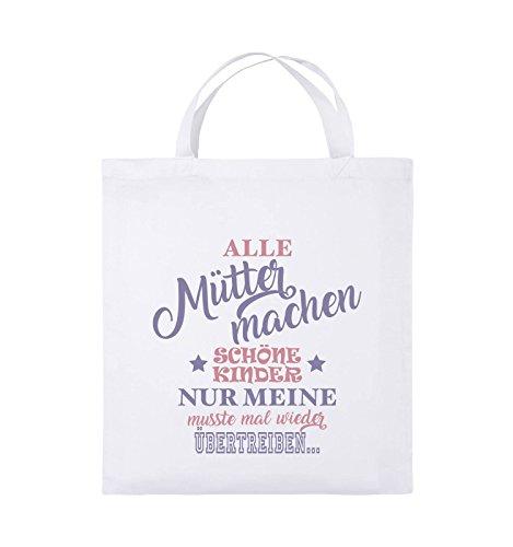 Comedy Bags - Alle Mütter machen schöne Kinder nur meine musste mal wieder übertreiben. - Jutebeutel - kurze Henkel - 38x42cm - Farbe: Weiss / Rosa-Violet (Hooded-sweatshirts Wieder)