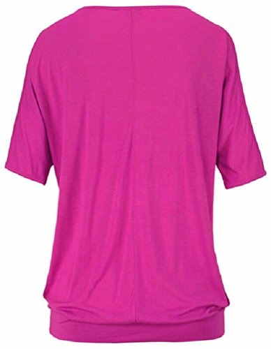 OLIPHEE Femme Sexy Shirt Plume Epaule nue Basic Top Chic Casual Chemiser Taille S-5XL Rose Rouge