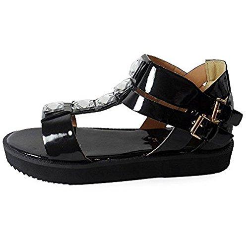 Loudlook Nouveau Dames Des Femmes En Faux Cuir Flip Flops Retro Summer Beach Sandales Taille 3-8 BLACK PATENT