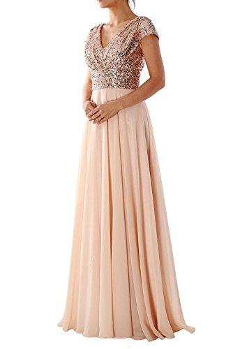LuckyShe Damen Lang Elegant Pailletten Chiffon Brautjungfernkleid Abendkleider Ballkleid für Hochzeitsfeier