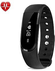 Willful SW322 Fitness Armband mit Pulsmesser - Bluetooth-Schrittzähler Armband Uhr mit Herzfrequenz-Monitor Schlafmonitor Alarm Kamera /Musik Fernbedienung SMS Anruf SNS Alarm für iPhone IOS & Android
