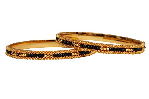 Jewbang-Gold-Plated-Black-Bead-Bangles-for-women-URVI09