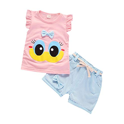 DWQuee Baby Girls Clothing Set, Cute Fly Sleeve T-Shirt Tops+Shorts Suit for 0-4 Years (Cute Bruder Und Schwester Kostüm)
