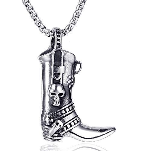 FHIKLW Halsketten,Edelstahl Schädel Herren Vintage Halskette Stiefel Titan Stahl Anhänger -