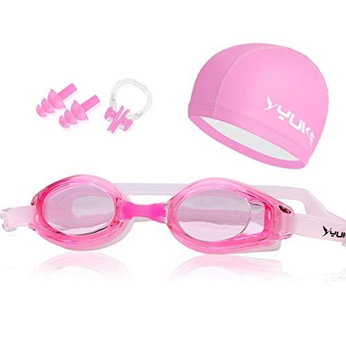 Schwimmen Brille Wasserdicht Anti-Fog flach Schwimmbrille Advanced Kinder Schwimmen Gläser Set Schutz Augen geeignet für 4-12Jahren Jungen und Mädchen mit Ohrenschützer Schwimmen Kappen 2Nase Splint (Pink)