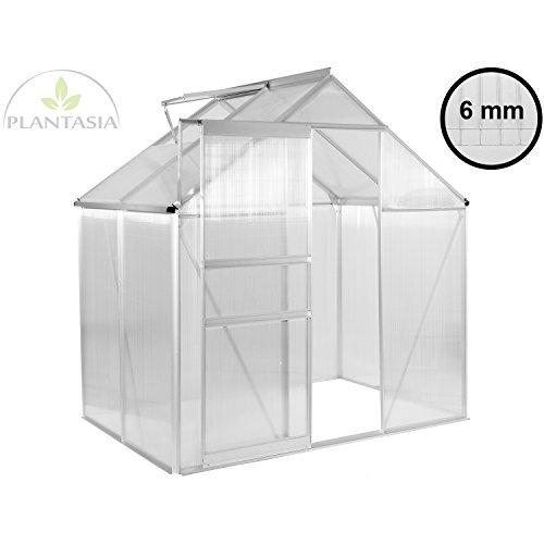 PLANTASIA Alu Gewächshaus mit Fenster, 6 mm Hohlkammerplatten, Größe: 3,94 m³, Aufbauvideo, Gartenhaus, Treibhaus