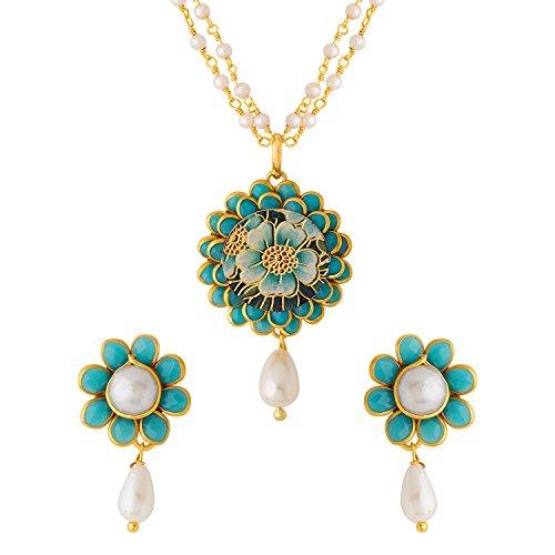Voylla Sky Blue Floral Print Pacchi Floret Necklace Set for Women