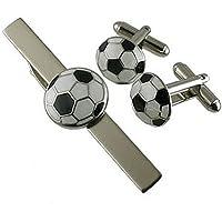 Soccer gemelli Set Regalo~Football gemelli con abbinamento di tie bar~tie clip box set regalo