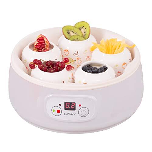Oursson FE1502D/IV Joghurtbereiter mit 5 Keramik Behälter von jede 200 ml, Timer, 20 W, digitale Anzeige, weiß