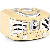 auna RCD320 Poste radio design rétro (lecteur CD, tuner FM, entrée AUX, lecture programmable, fonction répétition) - crème