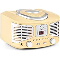 auna RCD320 • Radio CD • Equipo estéreo • Radio de Cocina • Retro • Nostálgico • Reproductor de CD • FM • AUX • Pantalla Digital • Programación de reproducción • Cable de Antena • Portátil • Crema