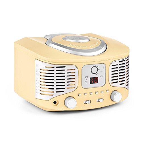 auna RCD320 minicadena retro (sistema estéreo compacto estilo retro, reproductor de CD, entrada AUX para MP3 y Smartphones, radio FM, altavoces incorporados) - crema